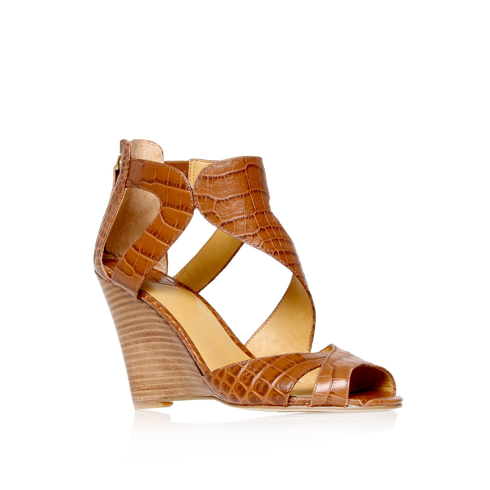 nine west missfitz strappy wedge sandals in brown lyst