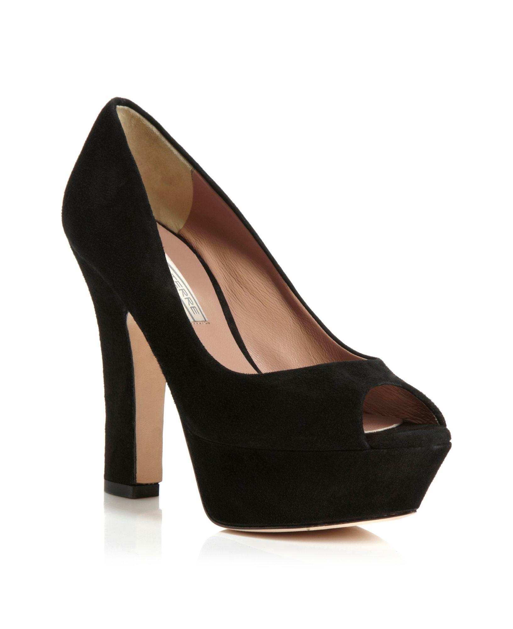 Pied A Terre Black Calla Platform Peeptoe Court Shoes Lyst