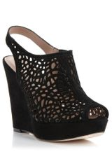 Pied A Terre Lalasa Laser Cut Wedge Sandals - Lyst