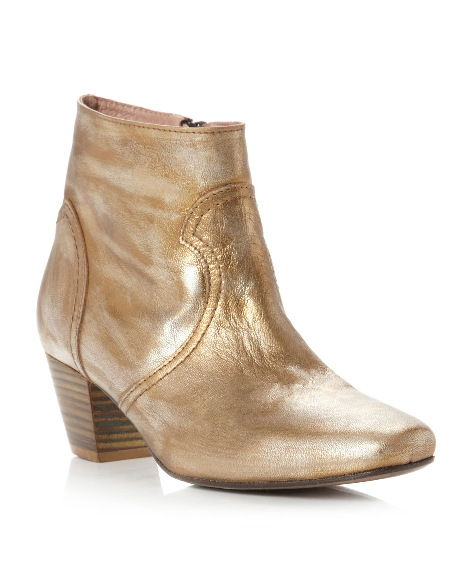 Pied A Terre Ozora Square Toe Ankle Boots In Gold Lyst