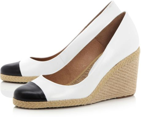 Pied A Terre Agape Toe Cap Espadrille Wedge Shoes In White