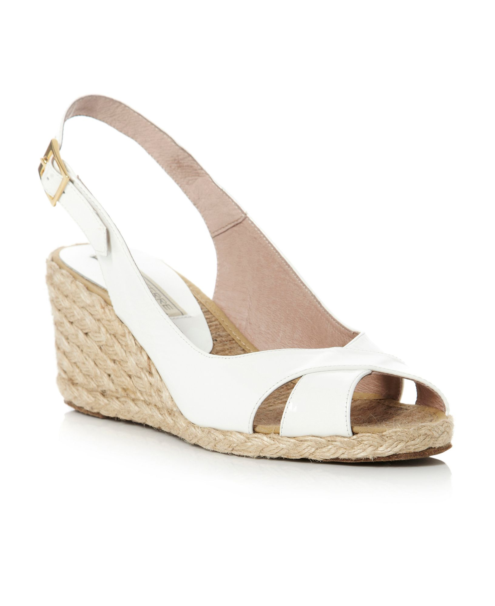 Pied A Terre Lata Cross Vamp Slingback Wedge Shoes In