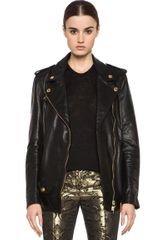 Pierre Balmain Leather Biker Jacket in Black - Lyst
