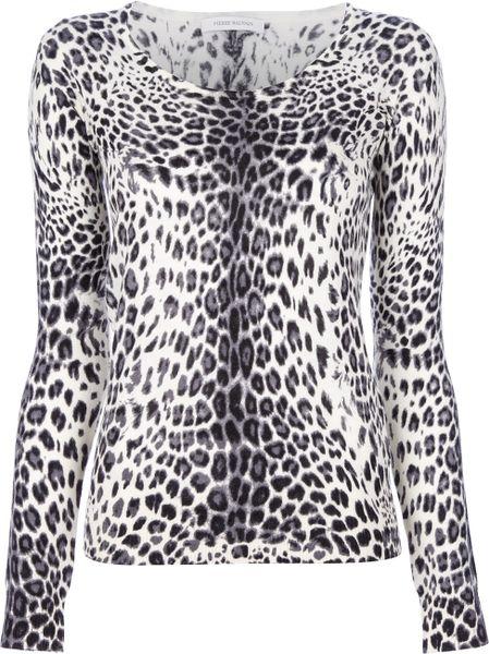 Balmain Leopard Print Sweater in Animal (leopard)