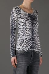 Pierre Balmain Leopard Print Sweater in Gray (white) - Lyst