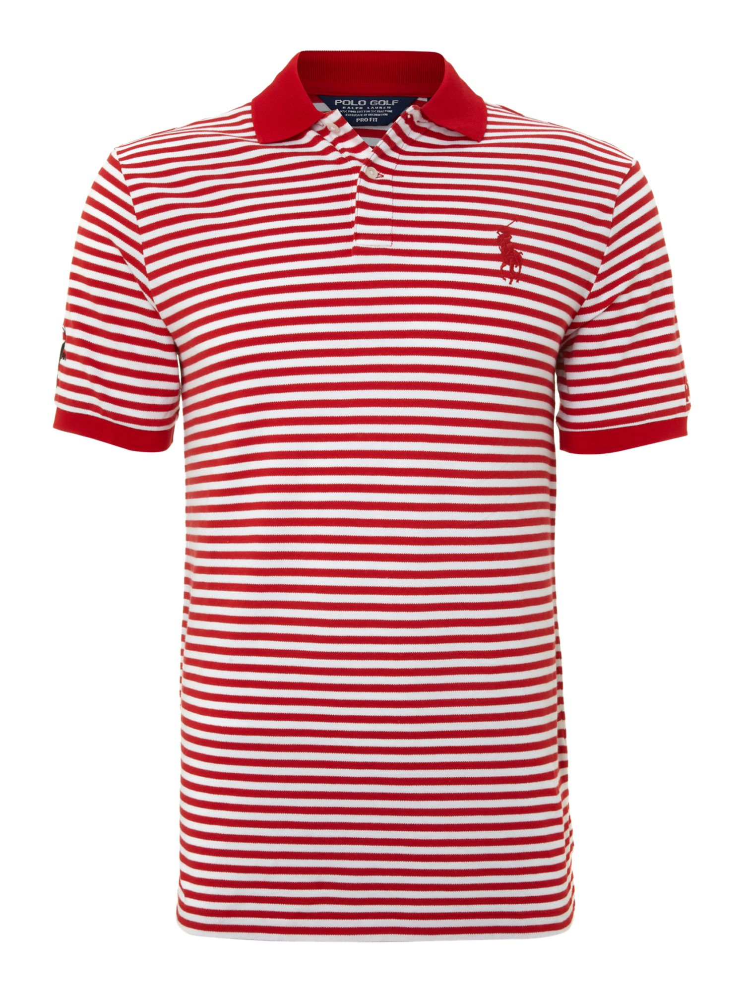 Ralph lauren golf open striped big pony polo shirt in red for Red white striped polo shirt