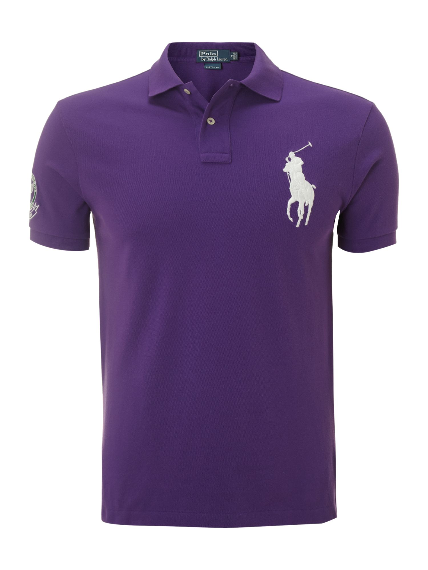 Polo ralph lauren wimbledon big pony mesh polo shirt in for Black ralph lauren shirt purple horse