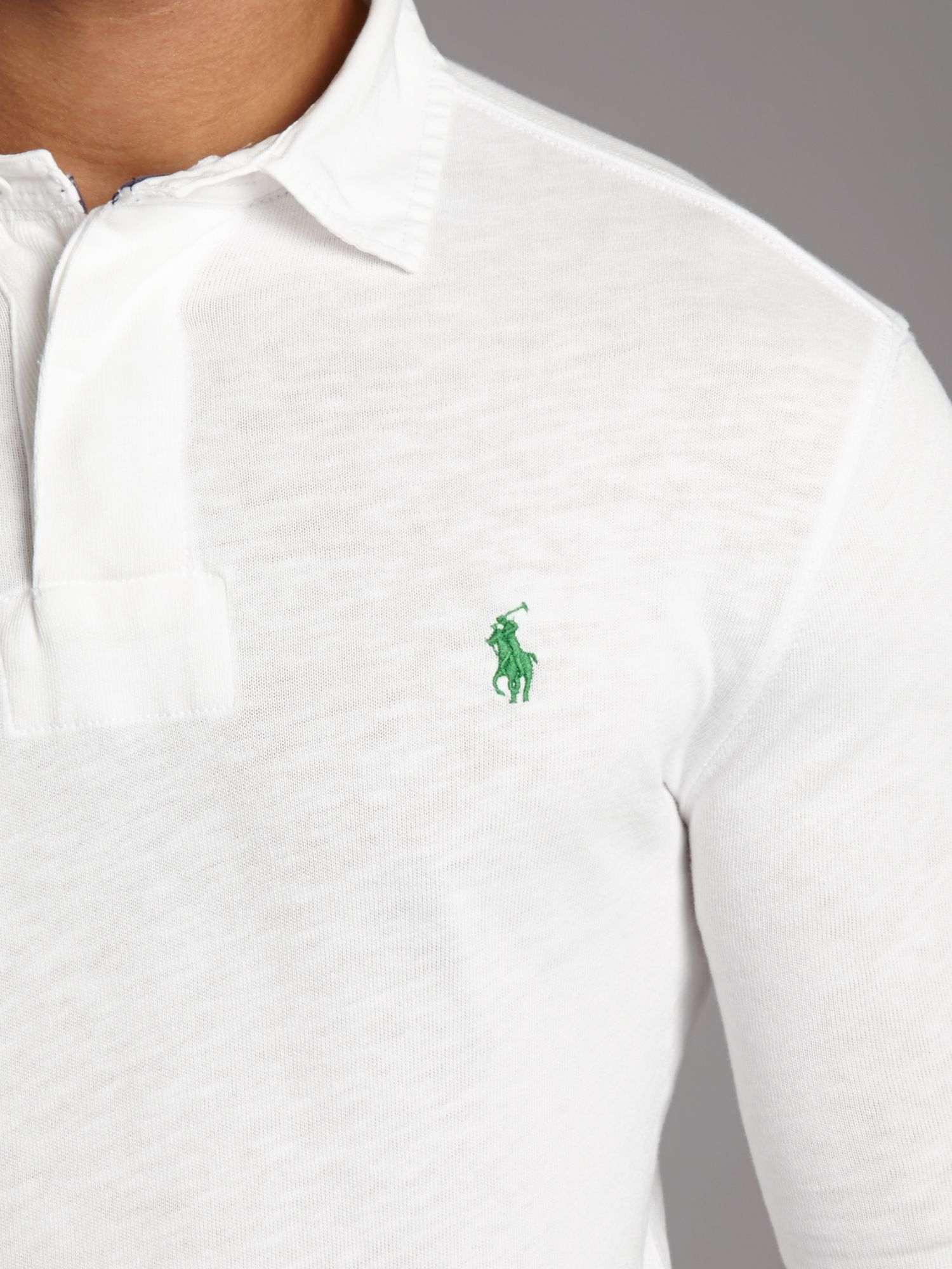Lyst polo ralph lauren classic slim fitted rugby top in for White fitted polo shirts