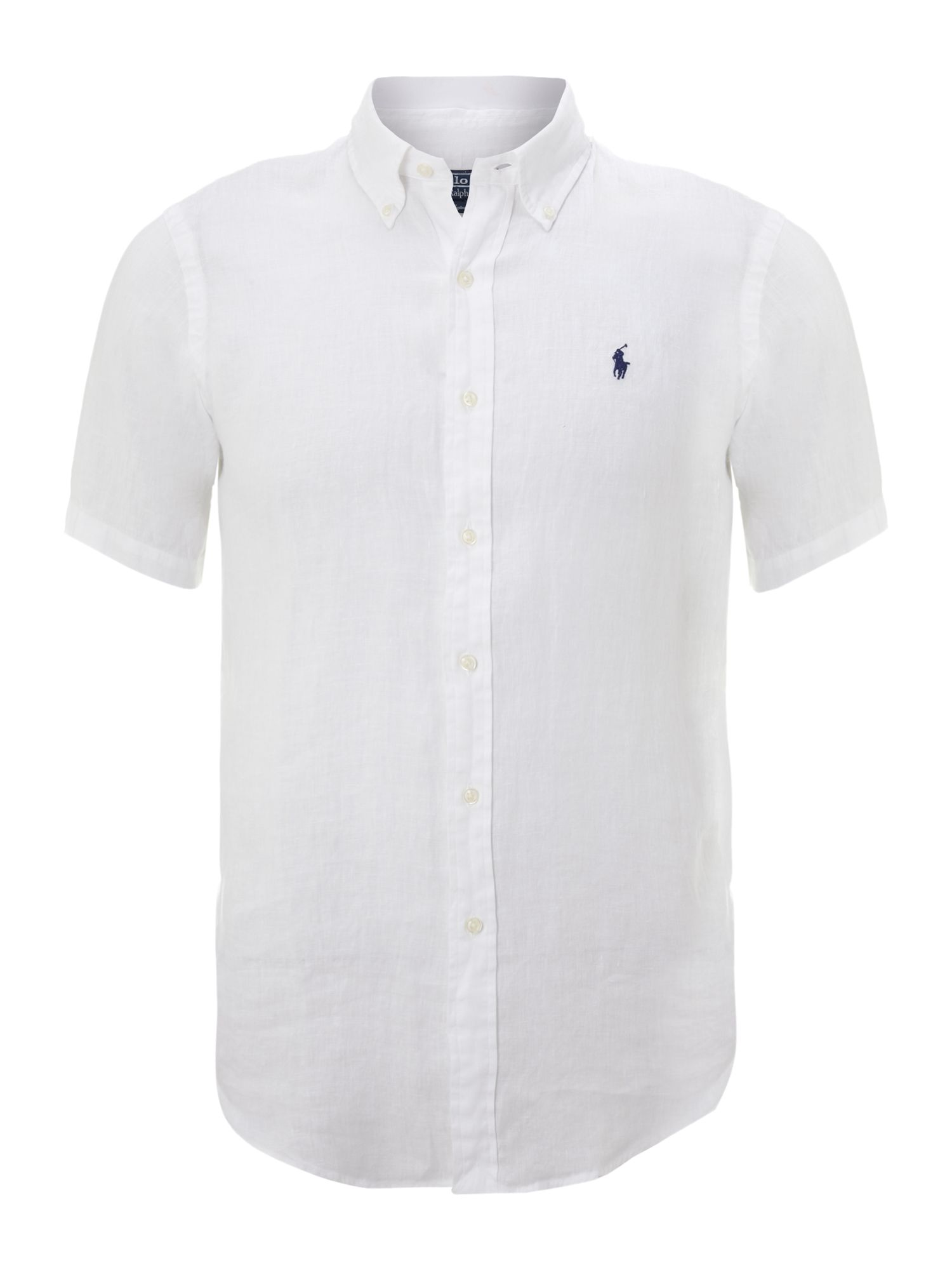 Polo ralph lauren short sleeved custom fit shirt in white for Short sleeved shirts for men