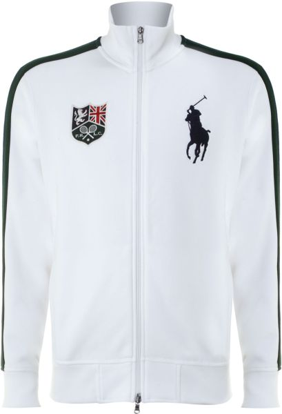 polo ralph lauren wimbledon big pony zip through sweatshirt in white. Black Bedroom Furniture Sets. Home Design Ideas