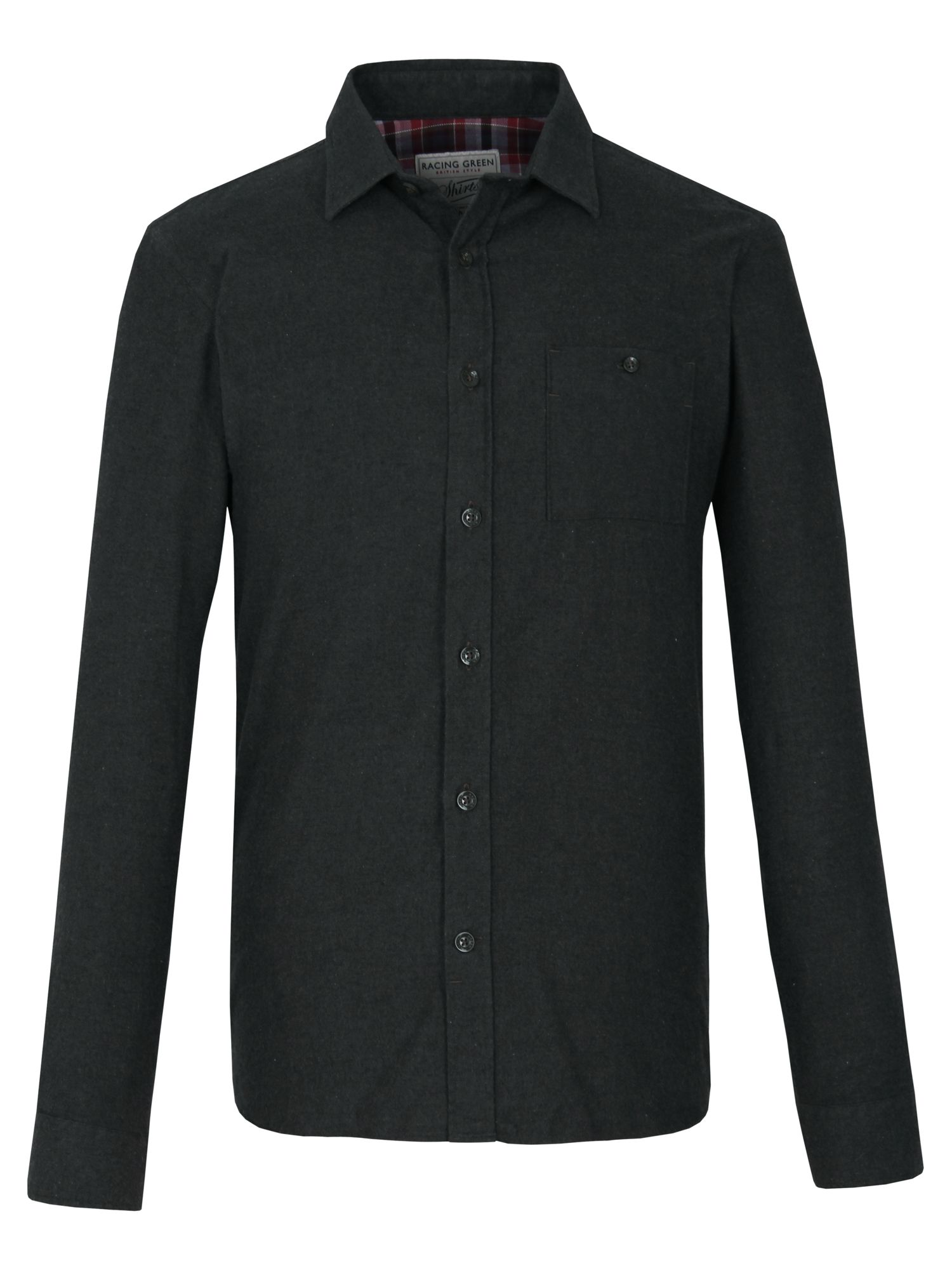 Racing Green Long Sleeve Brushed Twill Shirt In Black For