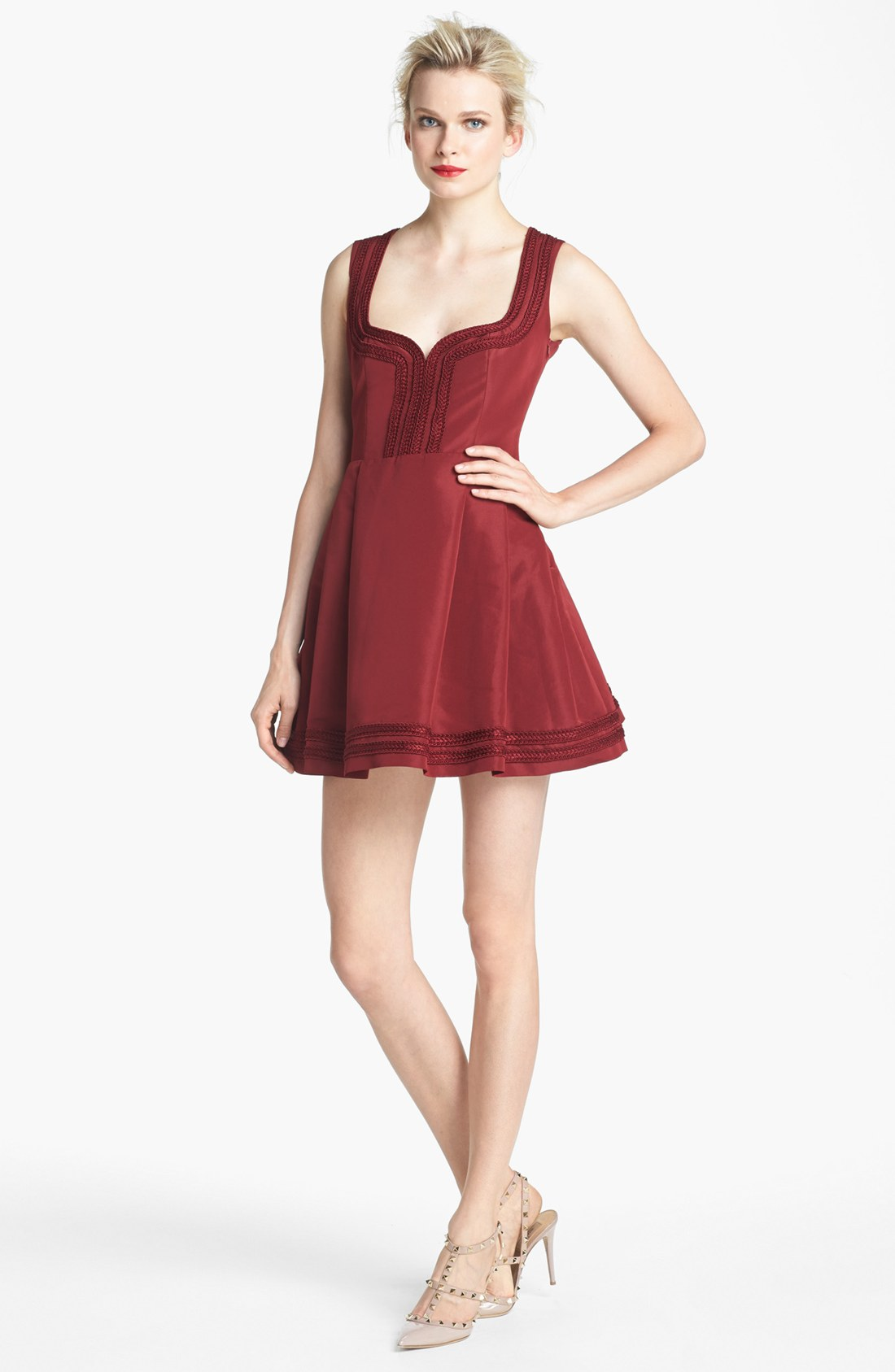 red valentino sleeveless faille dress in red lyst