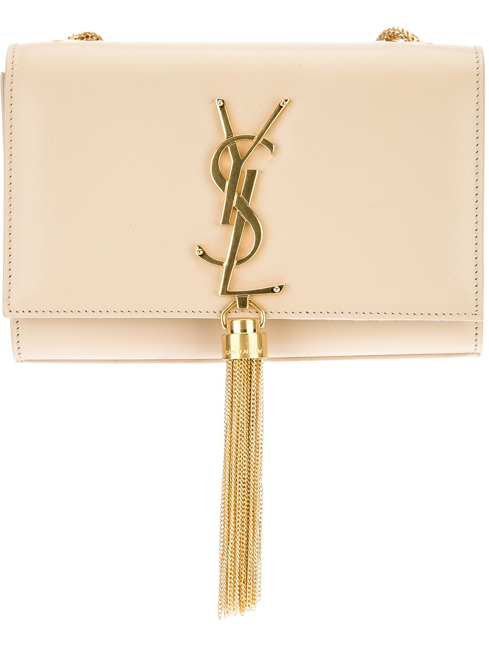 065028e9b4 Lyst - Saint Laurent Small Cassandre Tassel Shoulder Bag in Natural