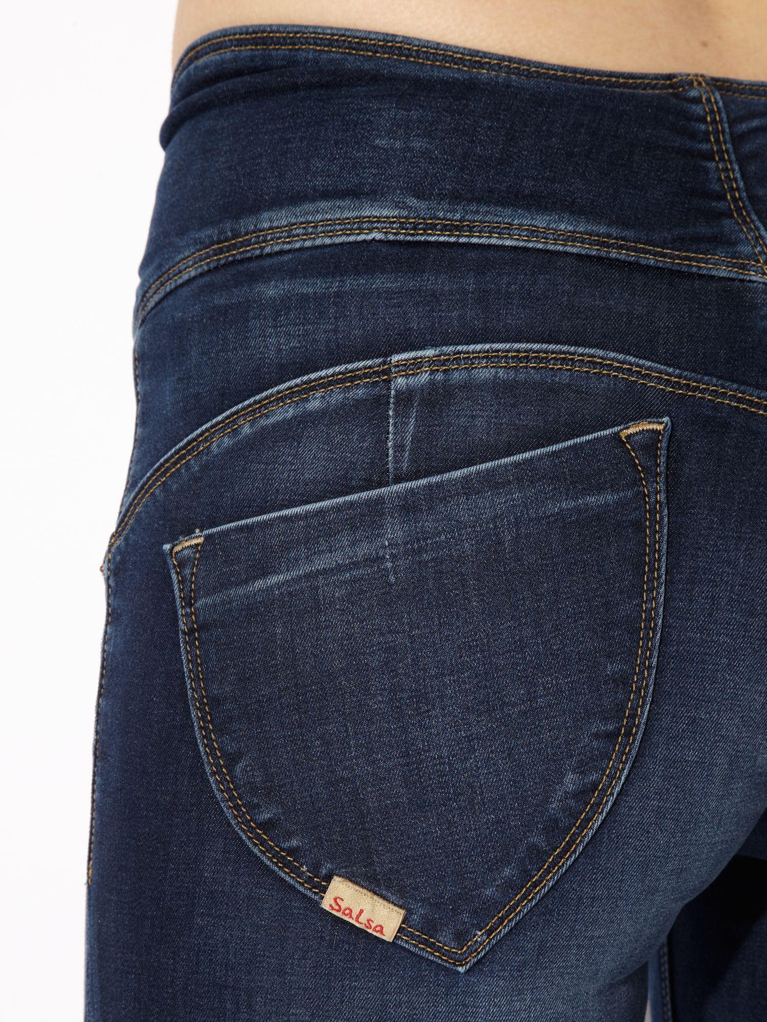 lyst salsa sculpture slim leg jeans in blue. Black Bedroom Furniture Sets. Home Design Ideas