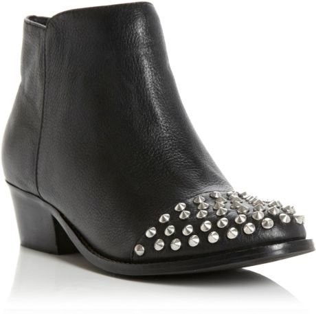 steve madden praque studded toe cap ankle boots in black