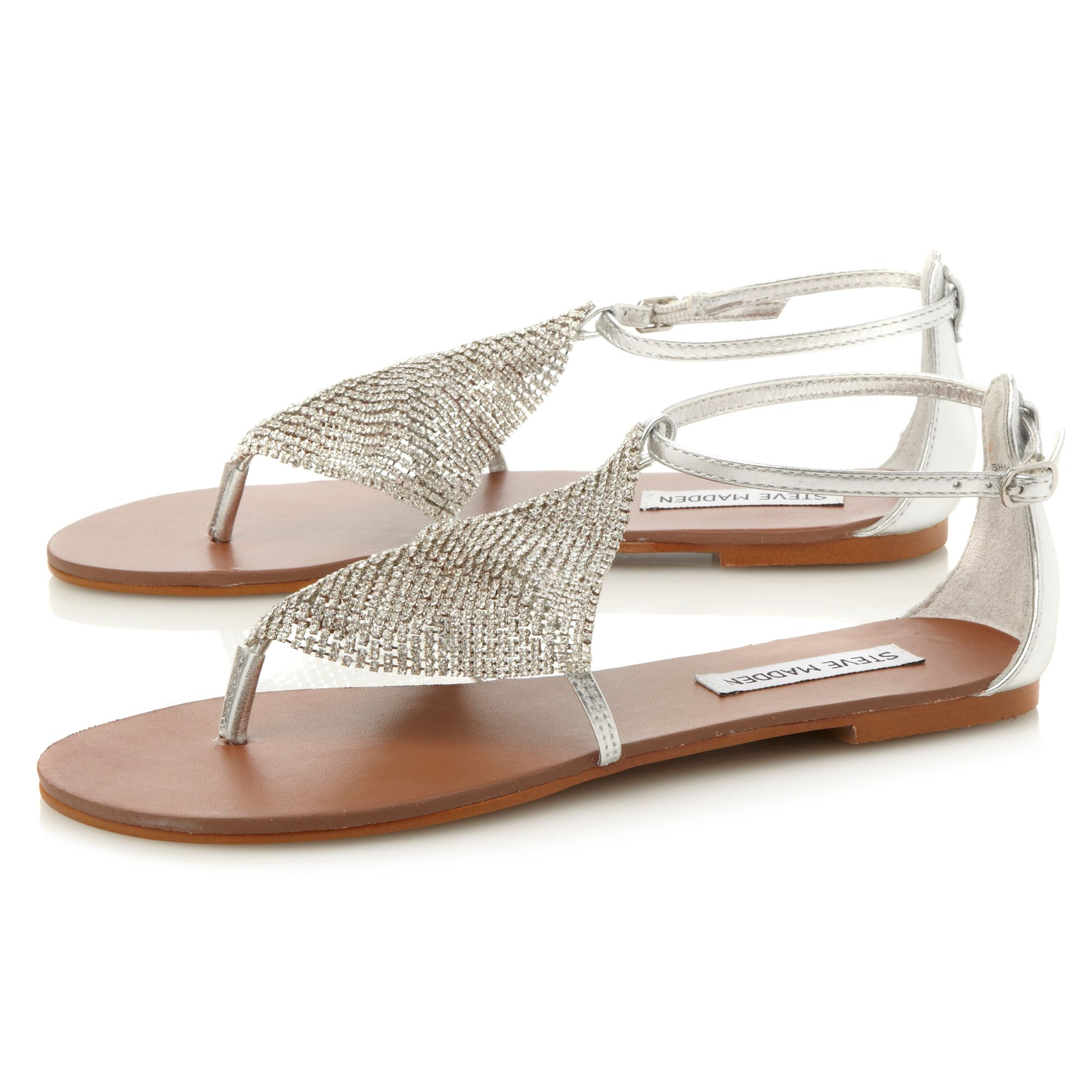 Steve madden Shineyy Diamante Toe Thong Flat Sandals in ...