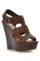 Steve Madden Wanting Thick Strap Caged Wedge Sandals - Lyst