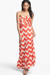 Tbags Los Angeles Ruffled Zigzag Maxi Dress - Lyst