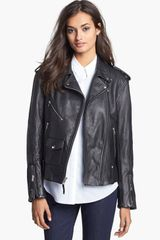 Theory Dalayan Leather Moto Jacket - Lyst