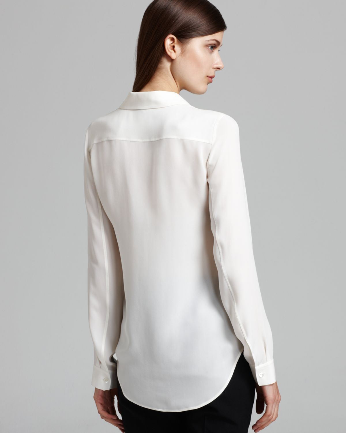 b66422bd8e Theory Blouse - Durlia Double Georgette Long Sleeve in White - Lyst