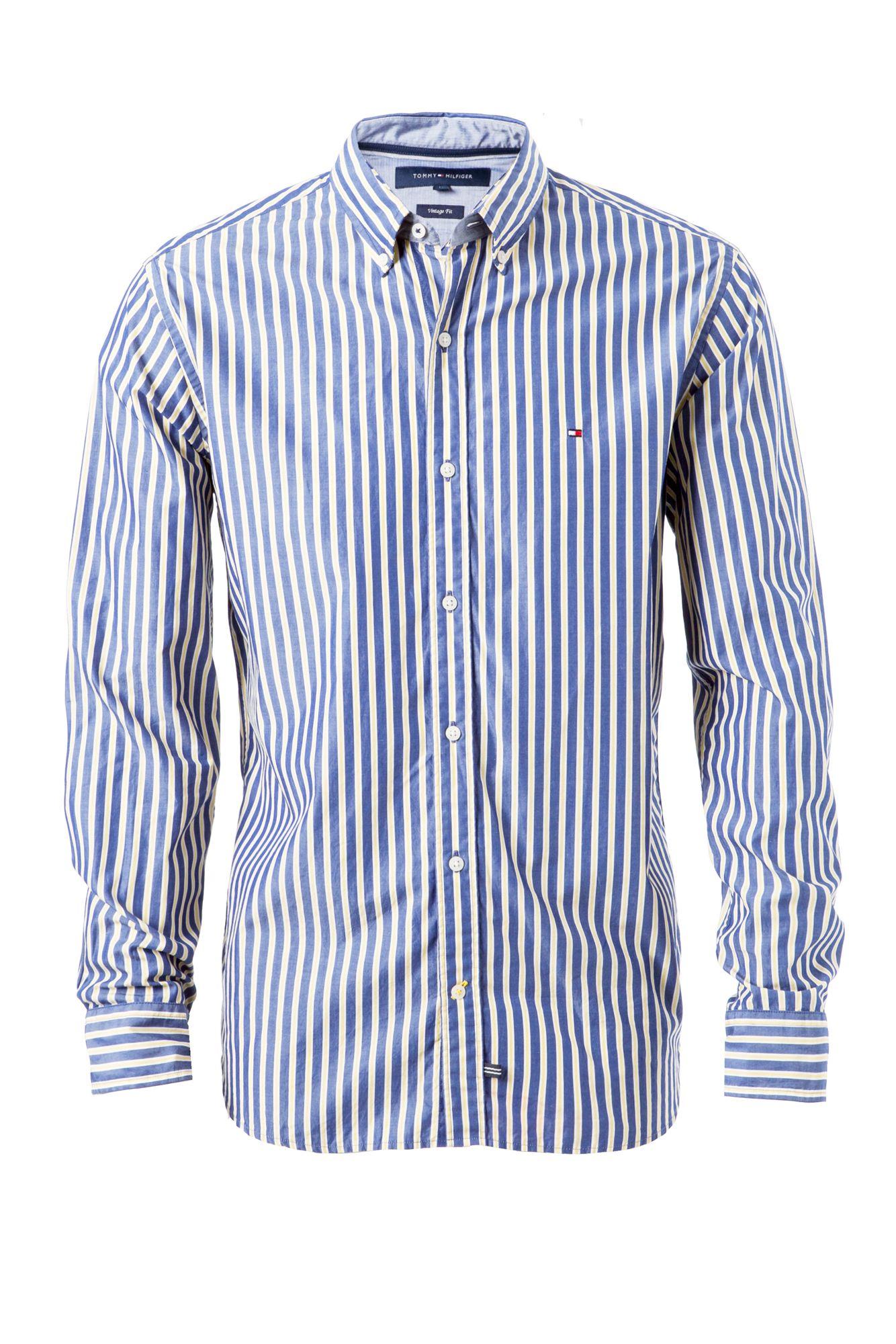 Tommy hilfiger charles stripe shirt in blue for men lyst for Tommy hilfiger fitzgerald striped shirt