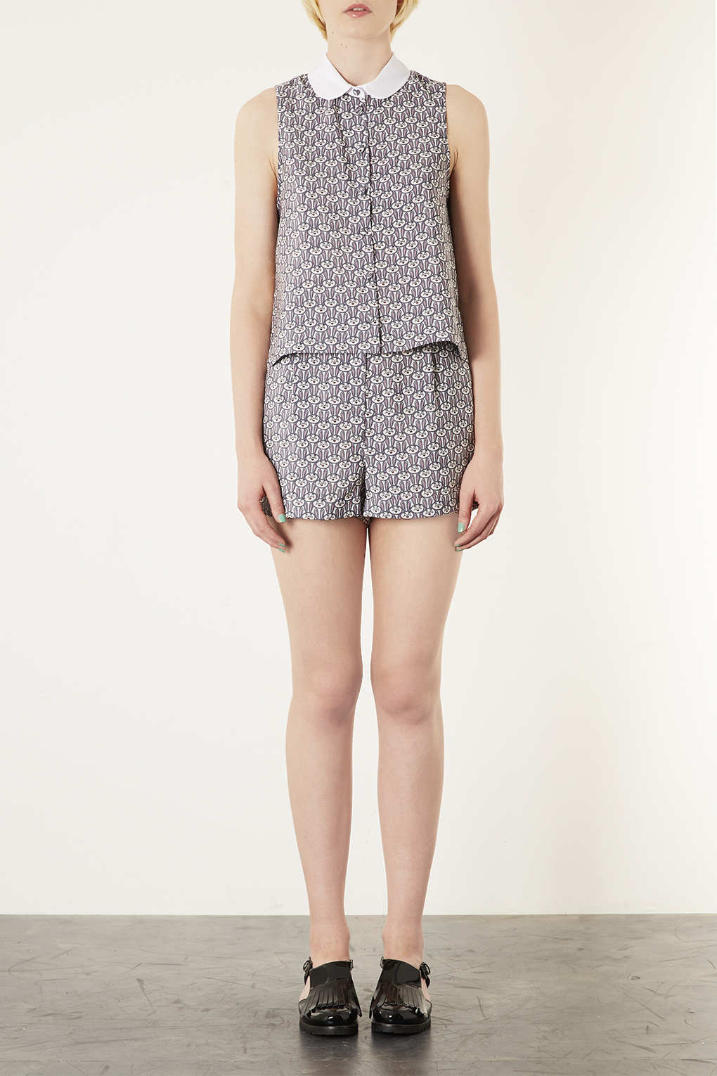 topshop bunny print shirt in white lyst