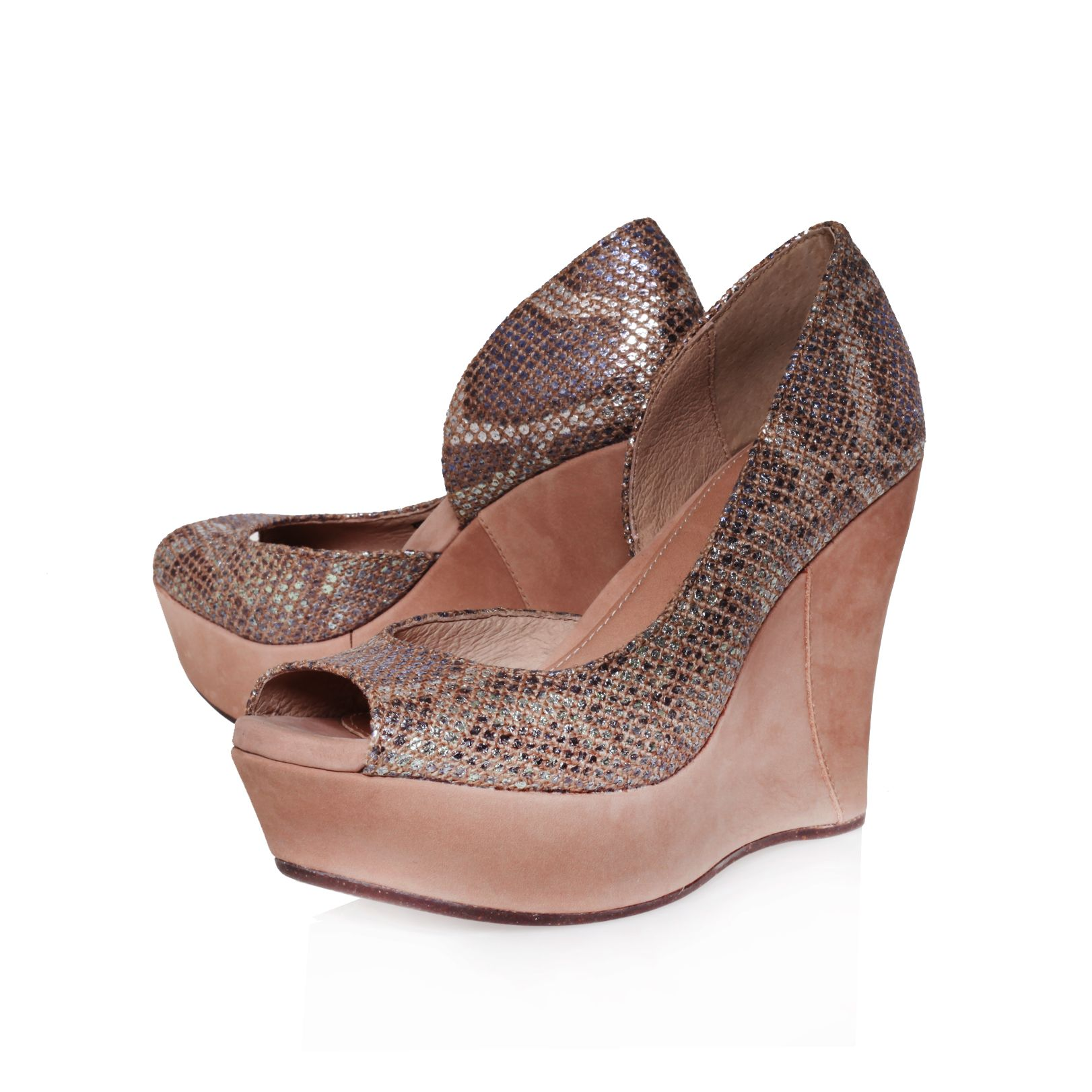 ugg toura wedge court shoes in animal beige lyst