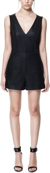 Zara Faux Leather Vneck Playsuit - Lyst