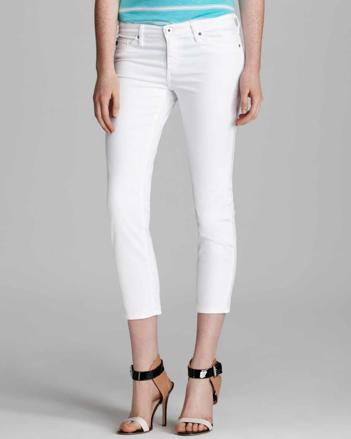 ag jeans adriano goldschmied jeans stilt crop in white in white lyst. Black Bedroom Furniture Sets. Home Design Ideas