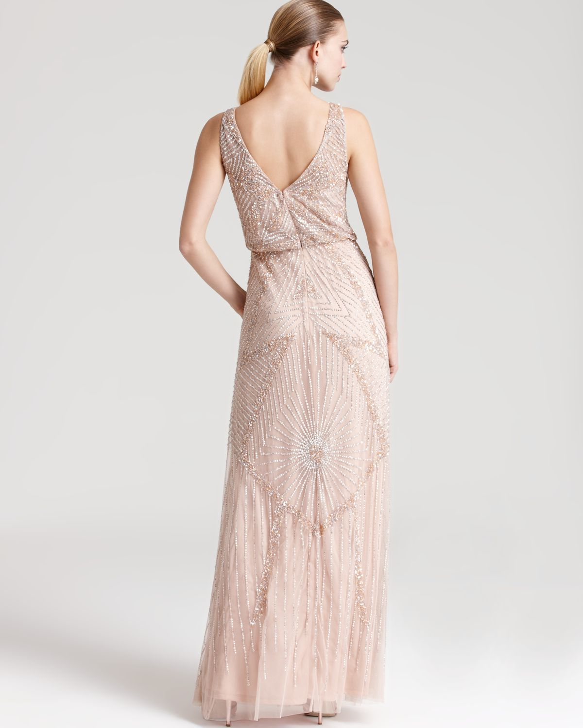 Lyst - Aidan Mattox Beaded Gown - Sleeveless Cinched Waist in Pink