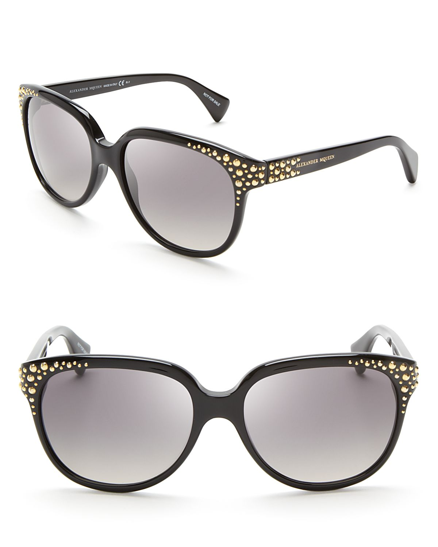 3f258baff Alexander McQueen Studded Cat Eye Sunglasses in Black - Lyst