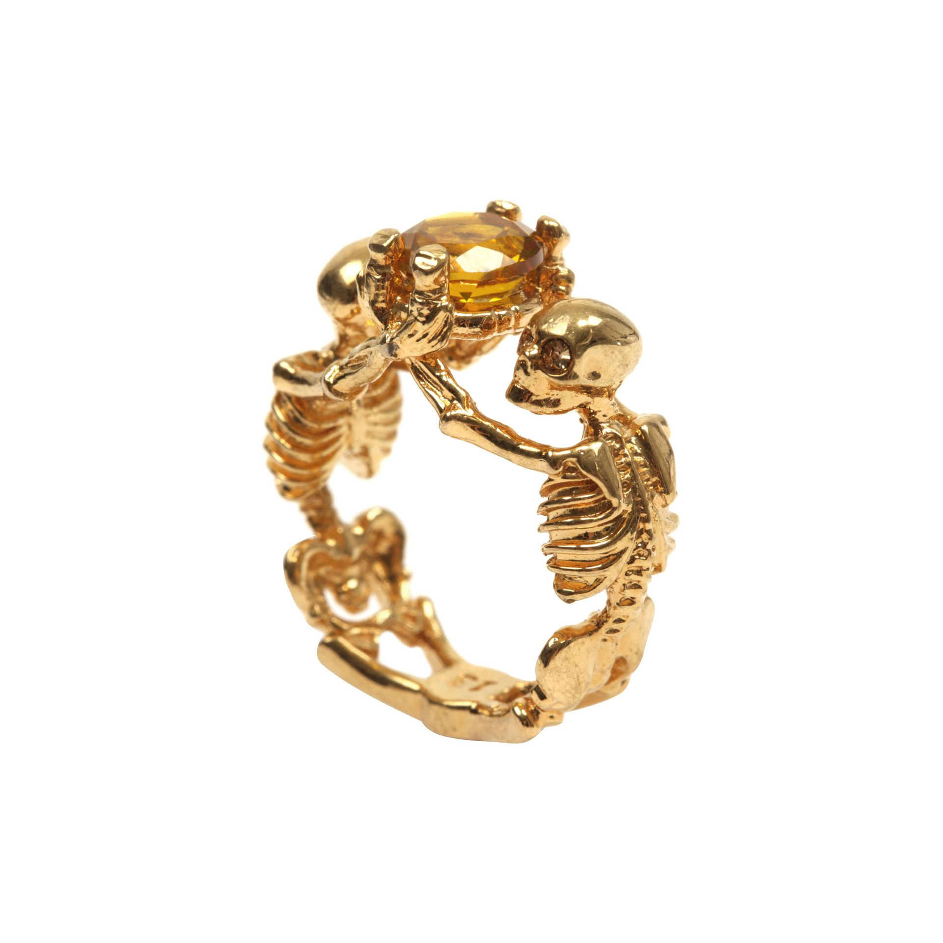 Alexander Mcqueen Twin Skeleton Jewel Ring In Metallic Lyst