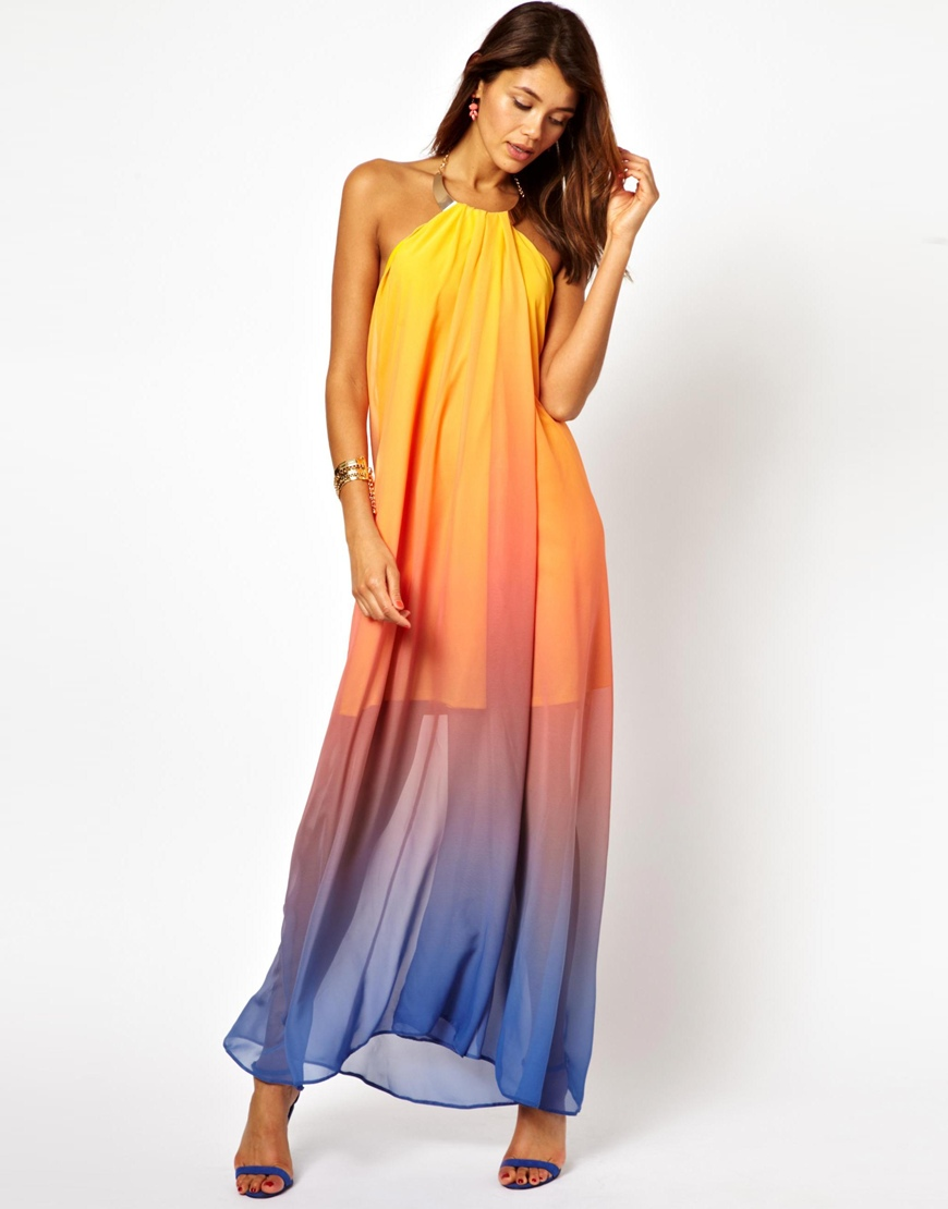 Asos Necklace Halter Rainbow Maxi Dress in Yellow