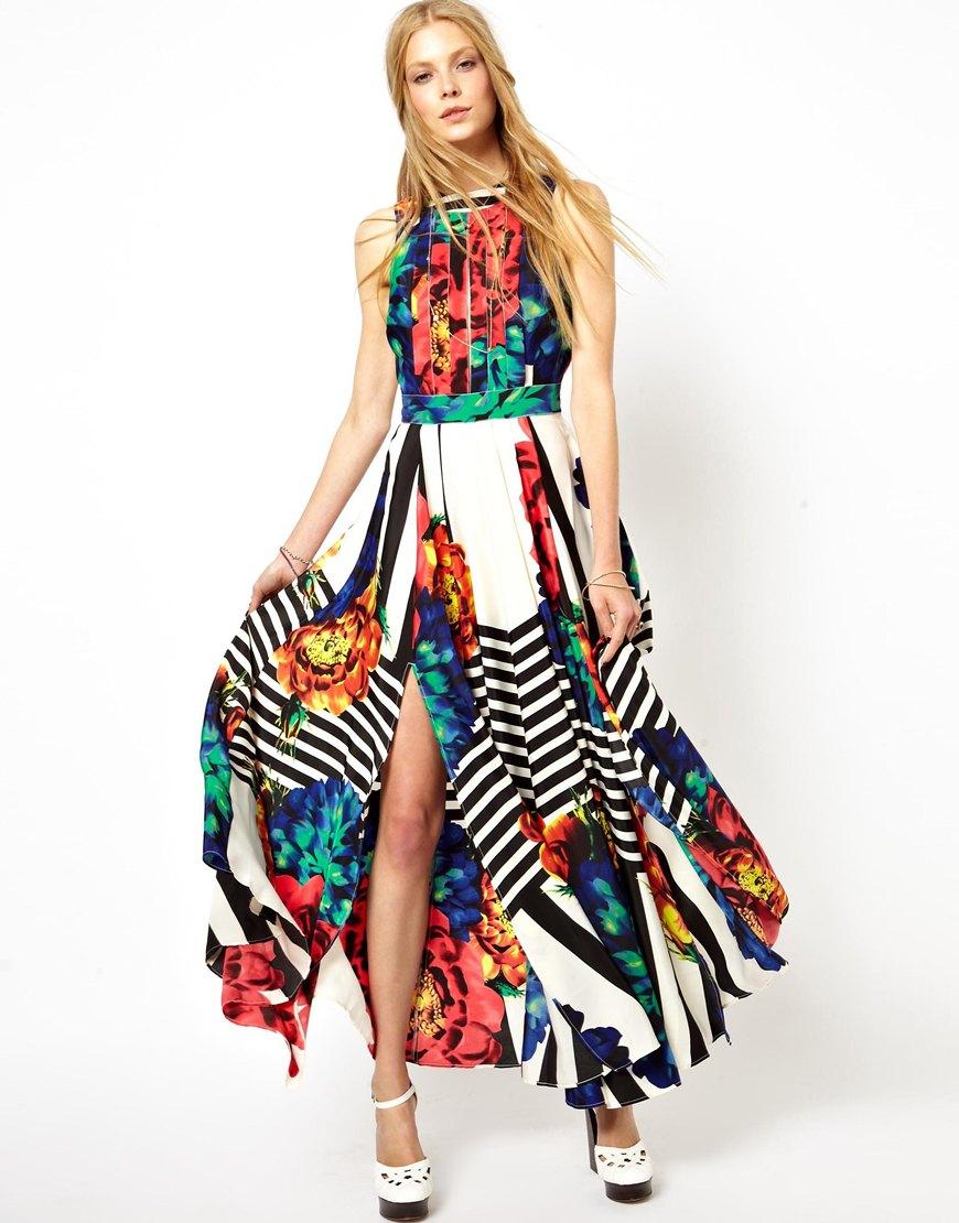 Lyst Asos Stripe Sleeveless Floral Maxi Dress