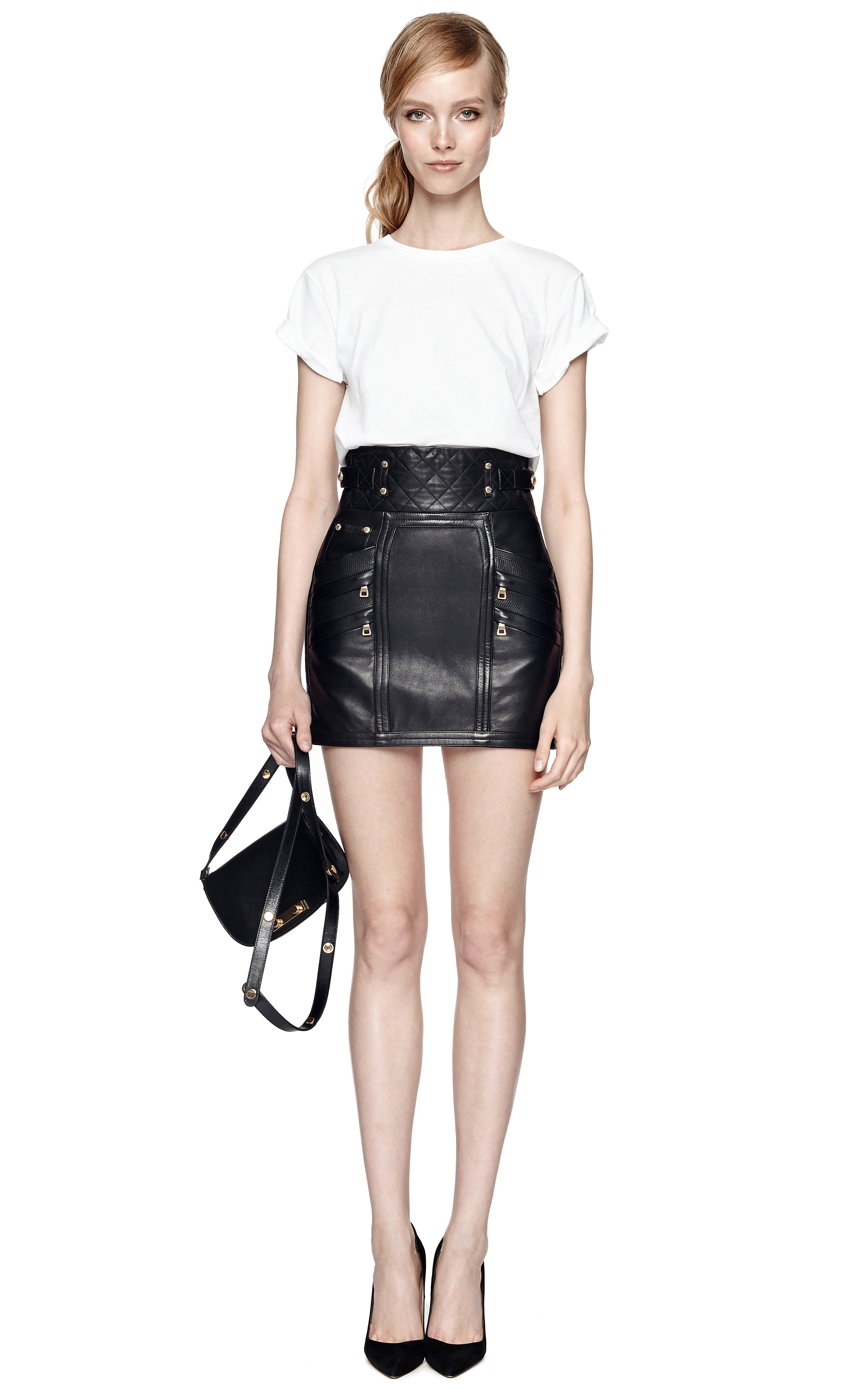 Balmain Quilted Leather Mini Skirt in Black | Lyst