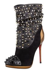 Christian Louboutin Spike Wars Red Sole Ankle Bootie Version Black - Lyst