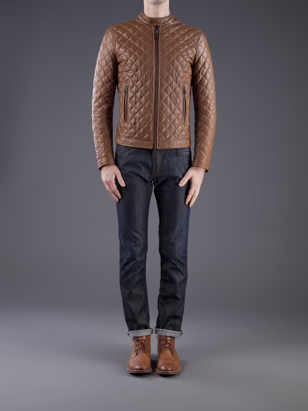 Dsquared² Quilted Leather Jacket in Brown for Men | Lyst