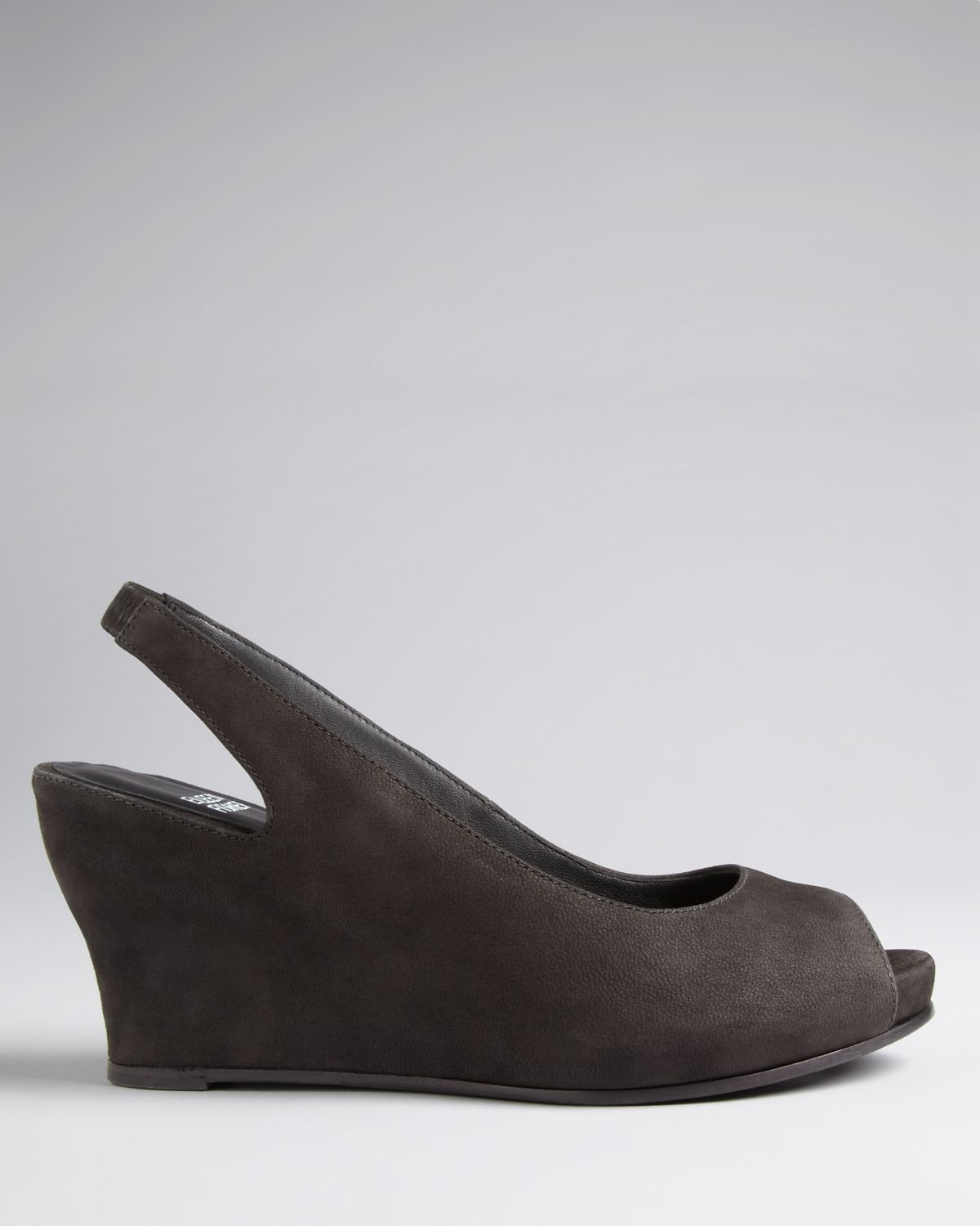 Lyst Eileen Fisher Peep Toe Pumps Crescent Wedge In Gray