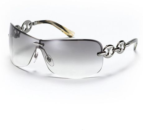 Gucci Rimless Glasses : Gucci Rimless Shield Sunglasses with Chain Link Design in ...