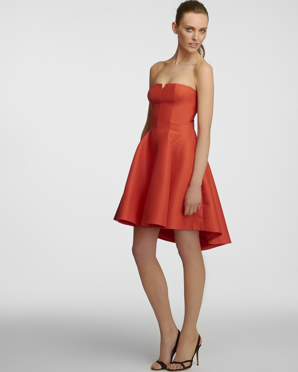 Halston Structured Flare Skirt Dress Strapless in Red | Lyst