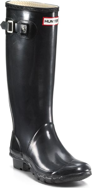 Hunter Rain Boots Huntress Extended Calf Glossy In Black