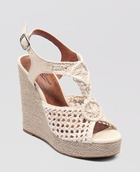 Lucky Brand Wedge Platform Sandals Rilo Crochet In Beige
