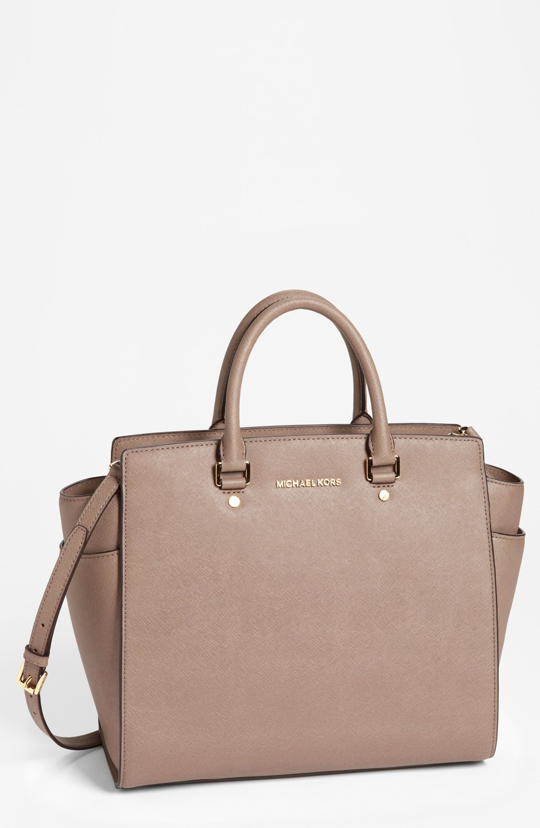 michael michael kors selma saffiano leather tote in natural lyst. Black Bedroom Furniture Sets. Home Design Ideas
