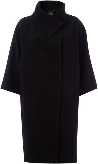 Pied A Terre Slim Funnel Neck Cocoon Coat - Lyst
