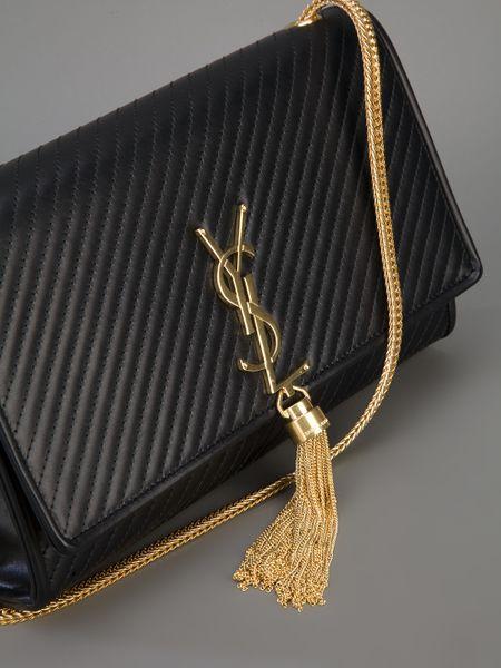 Saint Laurent Cassandre Tassel Shoulder Bag In Black Lyst