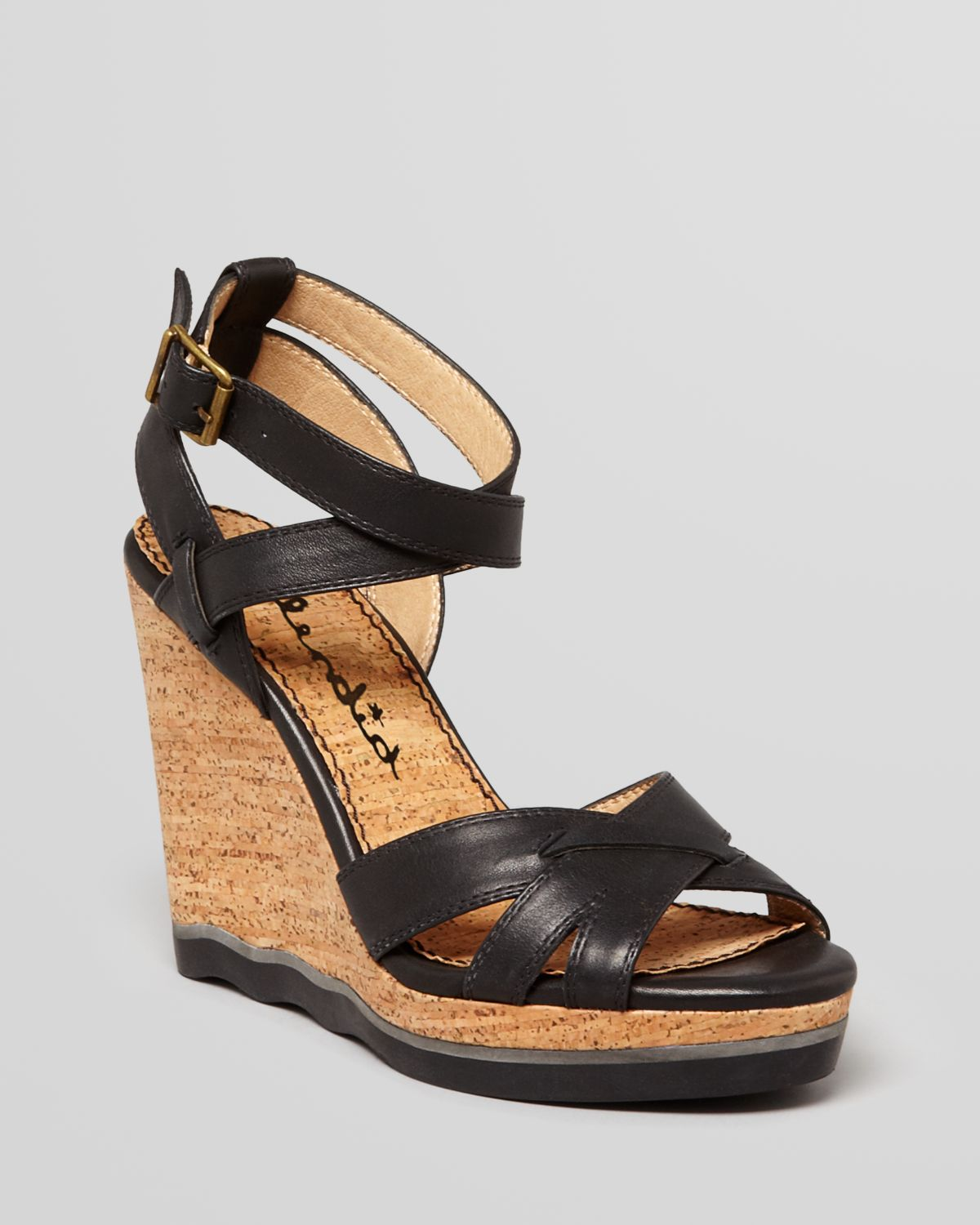 Lyst Splendid Platform Wedge Sandals Sage Cork In Black