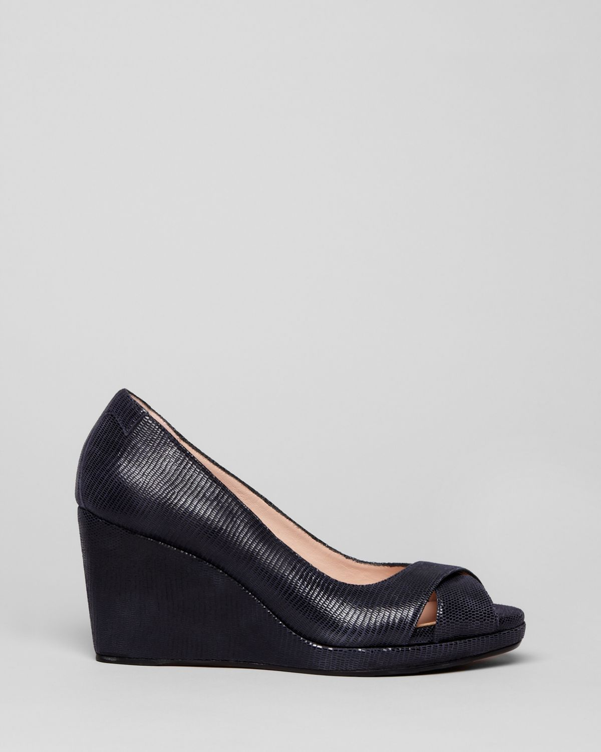 Cos Navy Wedge Platform Leather Shoes