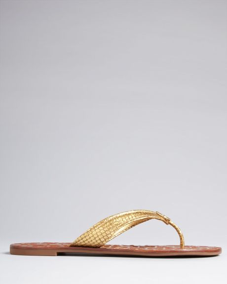 9efbbd367 Tory Burch Thong Flip Flop Sandals Thora 2 in Gold (Gold Snake)
