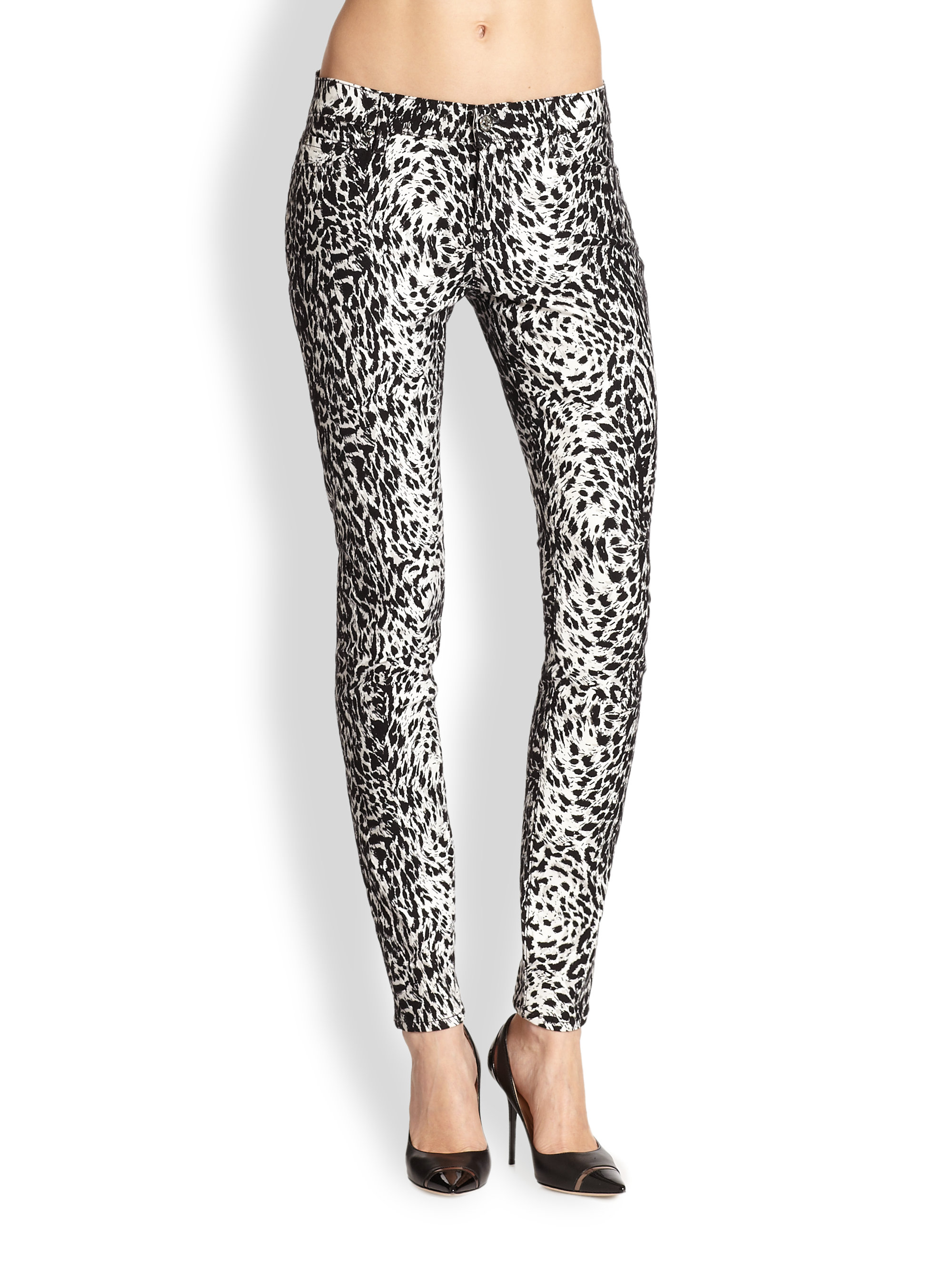 Lyst Leopard The Waistband All Print 7 For Mankind Countour Skinny RxqRHrU1
