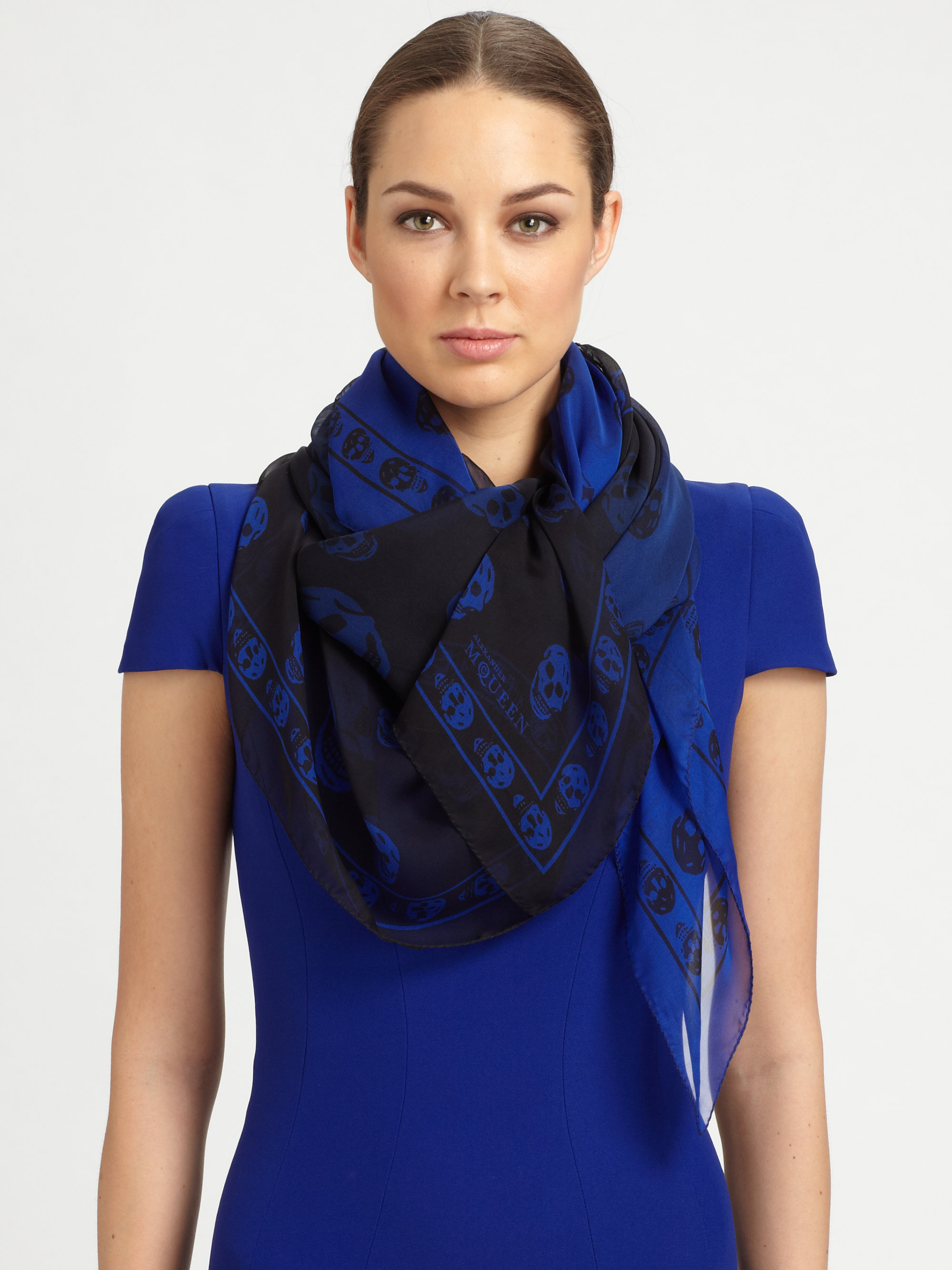 Alexander mcqueen Degrade Skull Silk Scarf in Blue | Lyst